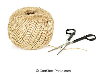 Ball of Natural String and Scissors on White Background -...
