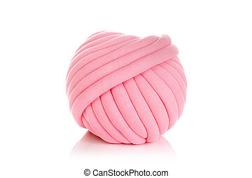 Ball of pink merino wool isolated on white background.