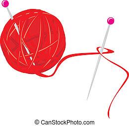 Ball of threads for knitting