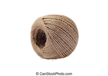 Ball of Twine. Isolated on White Background.