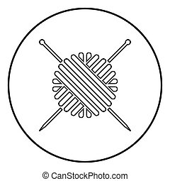Ball of wool yarn and knitting needles icon black color in circle round