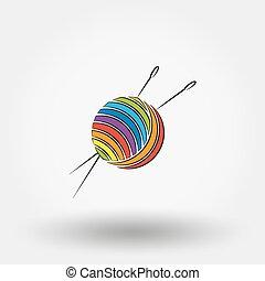 Ball of yarn and needles. - Ball of yarn and needles icon...