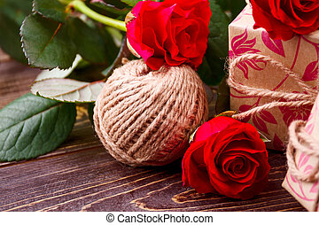 Ball of yarn and roses.