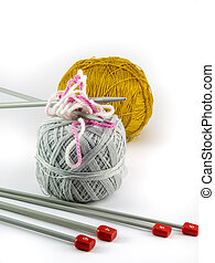 ball of yarn for knitting on white background
