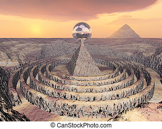 Ball on a pyramid over circles with a sunset