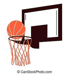 ball on basket of basketball sport vector design