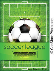 Ball on green field background and text - Football (soccer)...