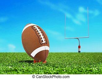 Ball on Tee with Goal Post - Football Ball on Kicking Tee...