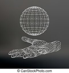 Ball on the arm. The hand holding a sphere. Polygon ball....