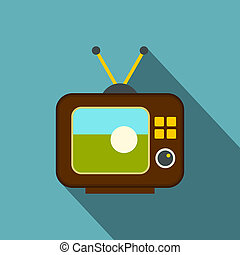 Ball on the screen of retro TV icon, flat style