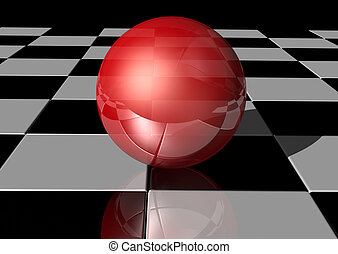 Ball on tiles - Red transparant ball on black and white...