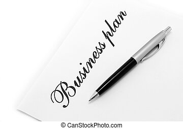 Ball pen and sheet with words on a white background
