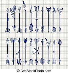 Ball pen arrows on notebook page - Ball pen arrows set...
