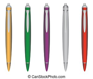 ball pen - Ball pens of different colors on a white...