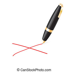 Ball pen crossing on a white background.