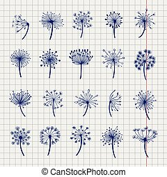 Ball pen dandelion sketch collection. Dandelion and seeds on...