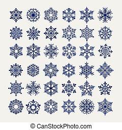 Ball pen imitation snowflakes set - Snowflakes set vector...
