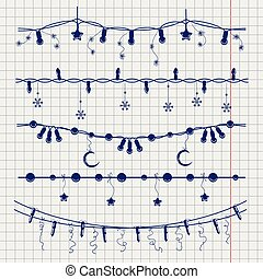 Ball pen sketch of christmas garlands