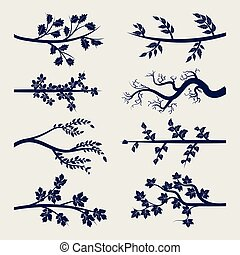 Ball pen tree branches with leaves