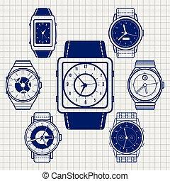 Ball pen watch icons set