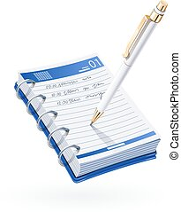 Ball pen write in notebook. Business notice. Stationery...