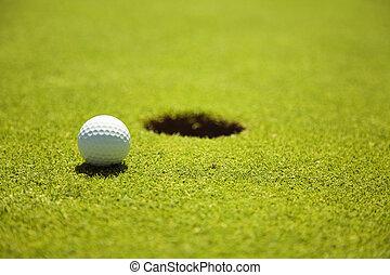 ball  - Golf club: ball close to the 18th hole