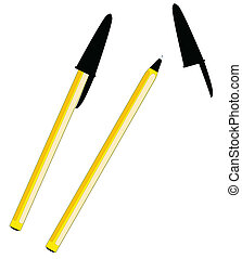 Ball Point - Two ball point pens isolated over a white...