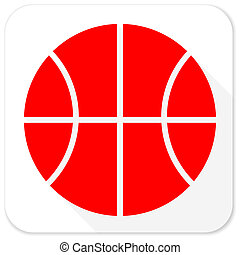 ball red flat icon with long shadow on white background