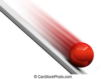 Red ball rolling downwards 3d render