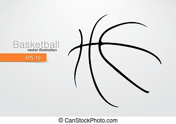 ball., silhouette, basket-ball