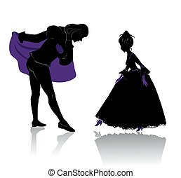 Ball - Silhouette of young royal romantic couple, preparing...