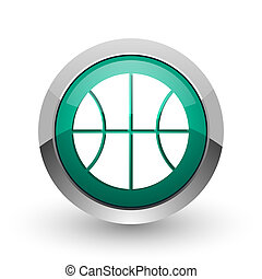 Ball silver metallic chrome web design green round internet icon with shadow on white background.