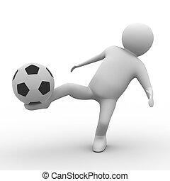 ball spieler, bild, freigestellt, hintergrund., weißes, fußball, 3d
