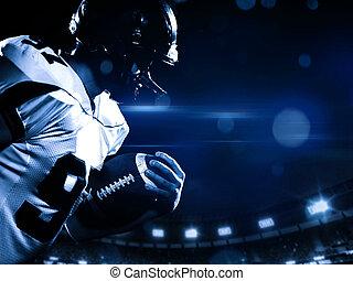 ball spieler, fußball, rennender , feld, während, besitz, ...