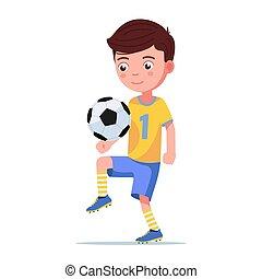 ball spieler, tritte, junge, fußball