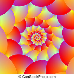 Ball Spiral in Red Yellow and Orange - A digital abstract...