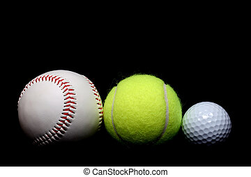 ball sports - a base ball, tennis ball, and golf ball side...