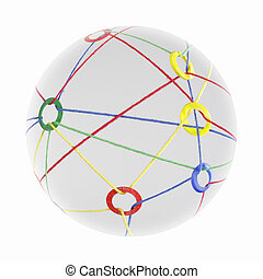 ball - A network of colorful ribbons floats as a ball...