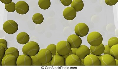 Tennis ball animation filling up spaces. matte included.