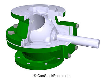 Ball valve illustration - 3D illustration of ball valve...