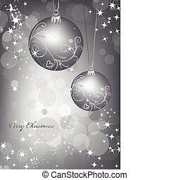 ball., vektor, ezüst, háttér, karácsony