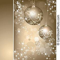 ball., vektor, hintergrund, gold, weihnachten