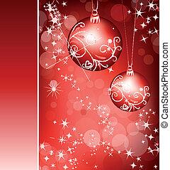ball., vektor, hintergrund, rotes , weihnachten