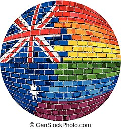 Ball with Australia and Gay flags