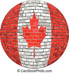 Ball with Canada flag in brick style