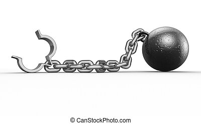 Iron ball with chain and shackle. 3d render illustration