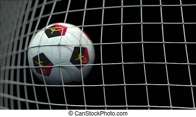 Ball with flags of Angola hits goal. 3D animation