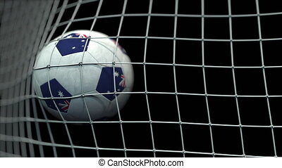 Ball with flags of Australia hits goal. 3D animation
