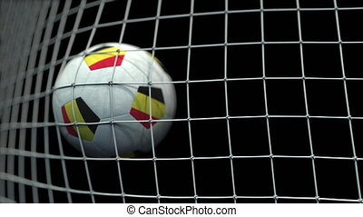 Ball with flags of Belgium hits goal. 3D animation