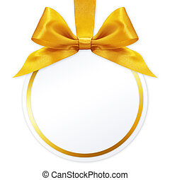 ball with golden satin ribbon bow on white background